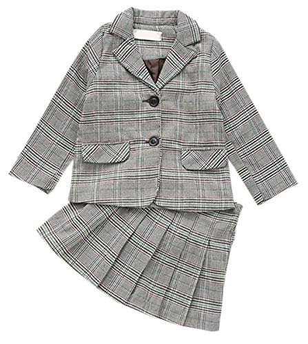 Girls Green Plaid Skirts (Girls' Skirt Set, 2 Piece Plaid Blazer Jacket + Pleated School Uniform Skirt Outfit Clothes Set for Toddler & Little Girls, Green, US 4-5 Years = Tag 120)