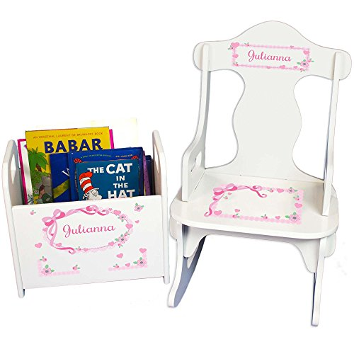 MyBambino Girls Pink Bow Caddy and Puzzle Rocker Early Education Baby Gift Reading Toddler