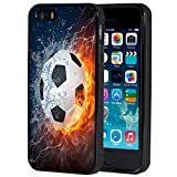 iPhone 5s Case,iPhone SE Case,AIRWEE Slim Anti-Scratch Shockproof Silicone TPU Back Protective Cover Case for iPhone 5/5s/SE,Water Fire Soccer Ball