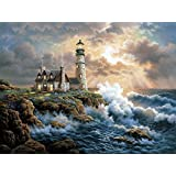 5D DIY Diamond Painting ,Diamond Painting By Number Kits for Adults Full Square Drill Rhinestone Embroidery for Wall Decoration (30X40CM/12X16inch),Lighthouse