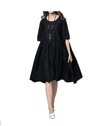 GHZGF Frauen Baumwolle Lose Mode Personalisiertes Kleid Falten Nähte ...