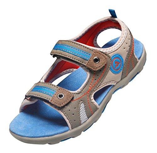 ATIKA Kids Sport Sandals Trail Outdoor Water Shoes, Venti(k107) - Brown & Blue, 9 Little Kid