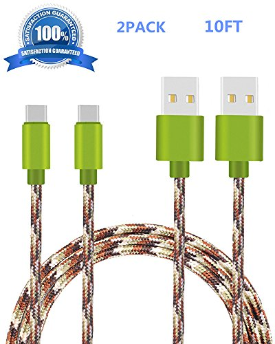Transfer Bench Case (Type C Cable (2 Pack) (Camo Green), SUPZY Durable Nylon Braided High Speed 2.0 Type C to Type A Cable for Google Pixel/XL, Nexus 6p/5X,LG G6, Samsung Galaxy Note 8, S8,S8 plus, HTC 10. (10FT))