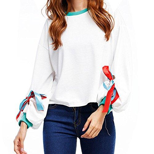 SKY Blusa superior floja sólida ocasional de las sudaderas de la camiseta de la manga del soplo del vendaje del vendaje de las mujeres Blanco