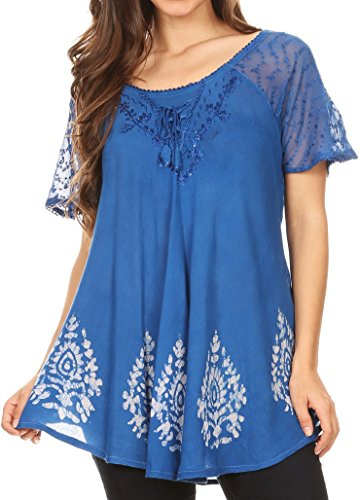 ta Womens Short Sleeve Corset Blouse Top with Batik and Lace Sleeves - Indigo/Blue - OS ()