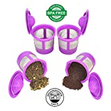 Delibru 4Pack Reusable K-Cups Refillable universal KCup for Keurig 2.0 & 1.0 Machines. Reusable kcup, k cup reusable filter, keurig coffee filters, Compatible With Keurig Brewers.