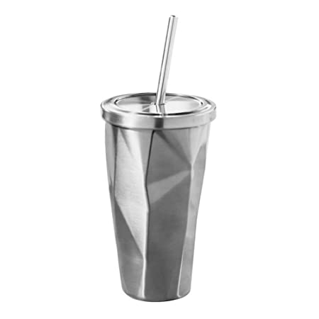 dff6a2d8709 BESTONZON Stainless Steel Tumbler Cups - Travel Cup with Lid Straw Double  Wall Drinking Cups Coffee Mugs 500ml Irregular Diamond(Steel Color):  Amazon.co.uk: ...