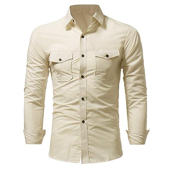 b8a2c42227b8d Moda Hombre Camisa Color sólido Botón de Cuello Hombre Casual Camisa de Manga  Larga Camisas de Hombre Blancas Slimfit Cuadros Estampadas  Amazon.es  Ropa  y ...