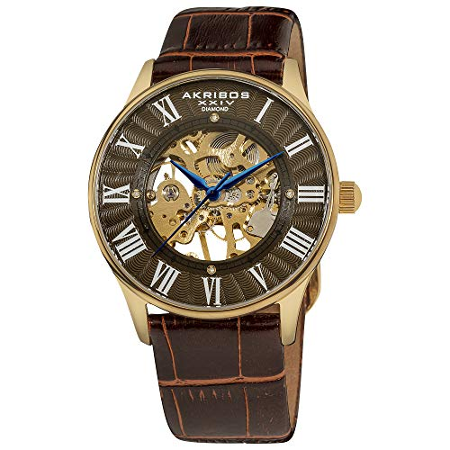 (Father's Day Gift - Akribos Automatic Skeleton Mechanical Men's Watch - 4 Genuine Diamonds Hour Markers On Crocodile Pattern Leather Strap See Through Dial - AK499)