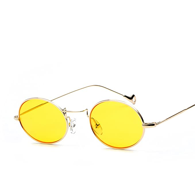 34ee2482d9 Small Oval Retro Sunglasses Men Gold Metal Frame Round Sun Glasses for Women   Amazon.ca  Clothing   Accessories