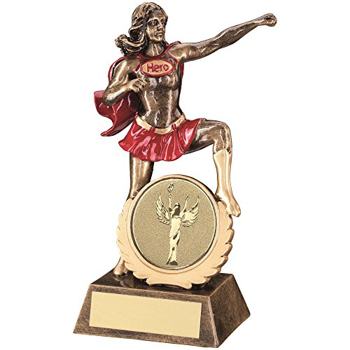 Lapal Dimension BRZ/GOLD/RED GENERIC FEMALE 'HERO' TROPHY - (2in CENTRE) 7.5in