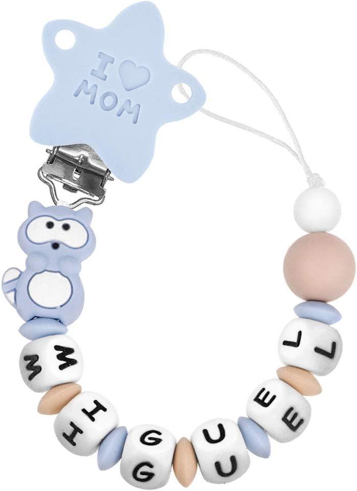 RUBY - Chupetero Personalizado para Bebé con Nombre Bola Silicona Antibacteriana con Pinza Redonda de Silicona (Azul Pastel)