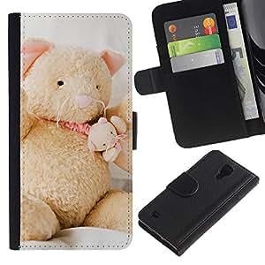 Billetera de Cuero Caso del tirón Titular de la tarjeta Carcasa Funda del zurriago para Samsung Galaxy S4 IV I9500 / Business Style Cute Bear