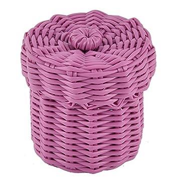 eDealMax plástico Oficina de punto Settle Caja de almacenamiento Basket Case w Tapa de las rosas