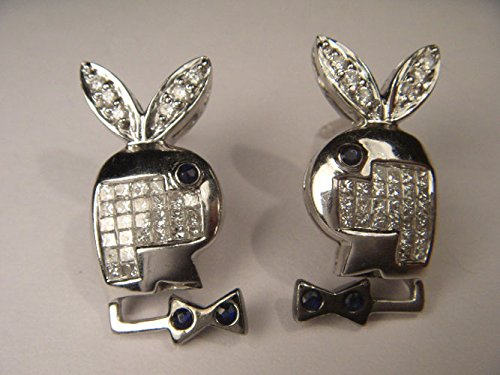 Stunning Estate 14K White Gold Diamond Sapphire Playboy Bunny Earrings