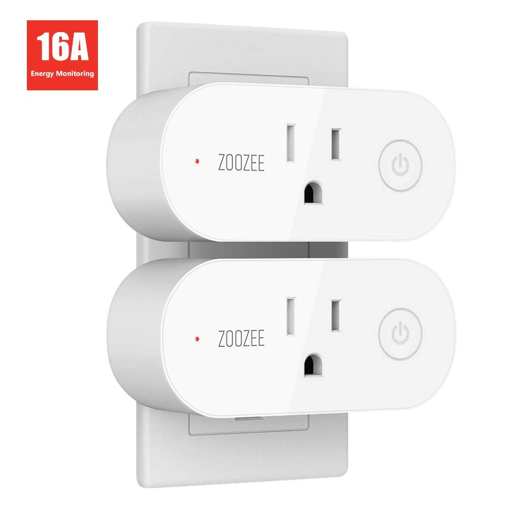 Smart Plug Wifi Outlet Compatible With Alexa, Google Home and IFTTT, ZOOZEE Mini Smart Socket with Energy Monitoring and Timer Function, No Hub Required, 16A(2 PACK) by T TECKIN