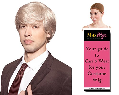 Tycoon Donald Trump Color Strawberry Blonde - Enigma Wigs Men's Politician Presidential Billionaire You're Fired Bundle with Wig Cap, MaxWigs Costume Wig Care Guide -