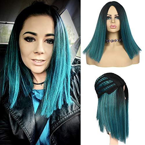 Suri 14 Inches straight Ombre Blue synthetic wigs for women, Short Bob wigs Centre Parting Dark Roots Half-Hand Tie Hair, Heat Resistant Fiber wig Natural hair ()