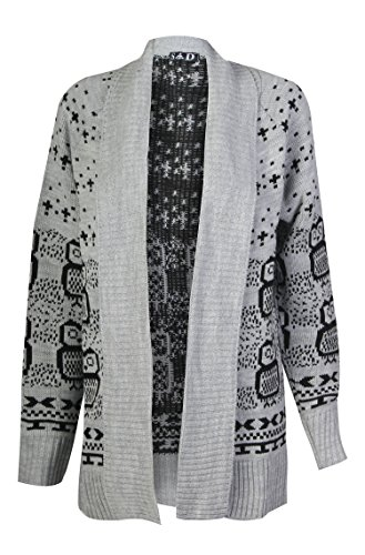 Forever Womens Long Sleeves Front Open Skull & Owl Knitted Cardigan Top