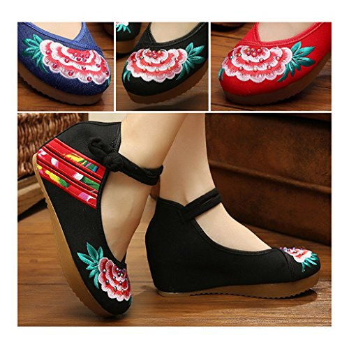Style Cloth Shoes 37 National Shoes Beijing Thin Embroidered Old black SxvIa