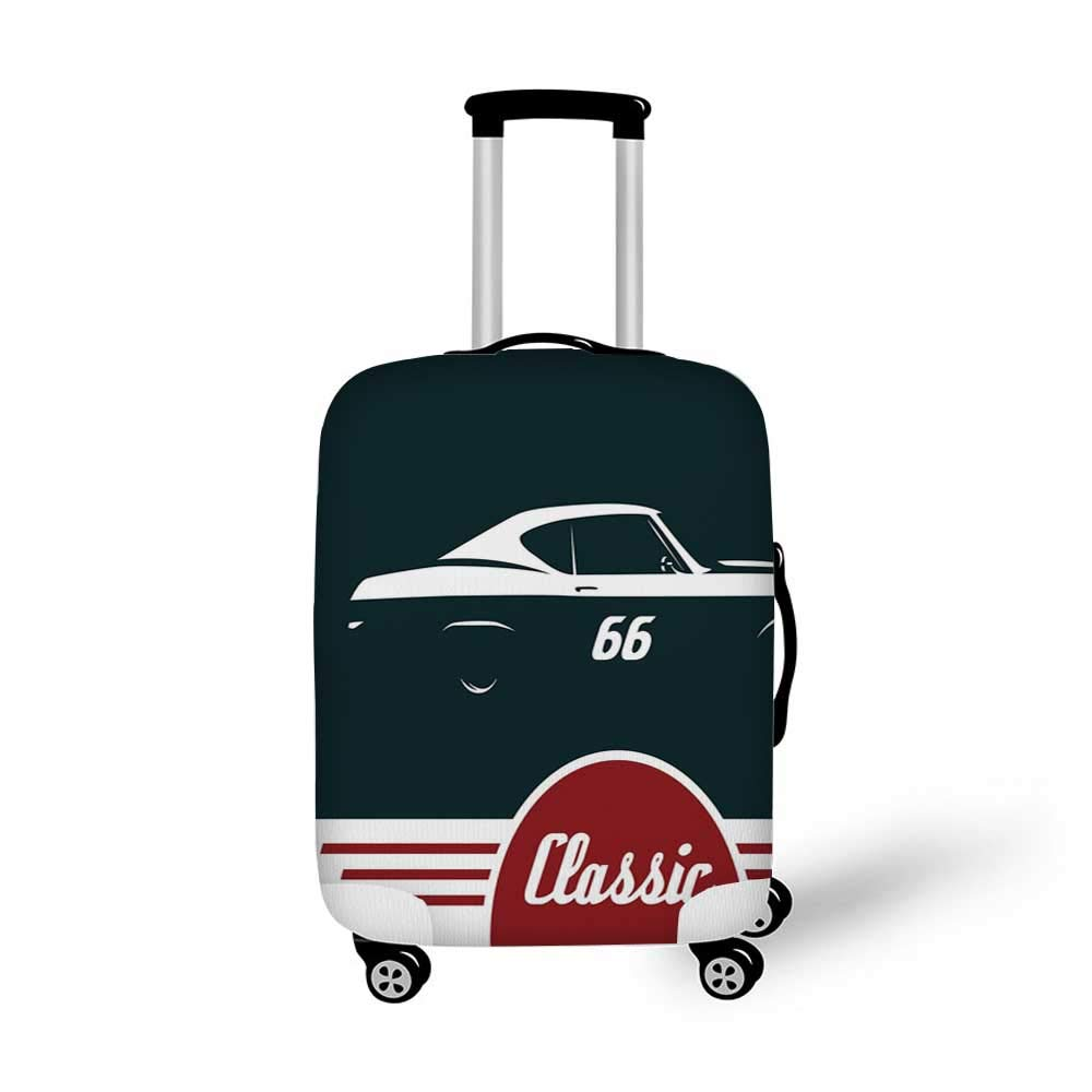 19.6W x 28.9H Man Cave Decor Stylish Luggage Cover,Finish Line on Racetrack Motion Blur Motorsports Competition Stadium Image Decorative for Luggage,M