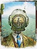 retro robot art sci fi vintage poster oddities curiosities steampunk wall decor vintage diving ocean kids fun coastal steam punk scuba deep sea diver helmet | Weird unique ready to frame 18x24 print