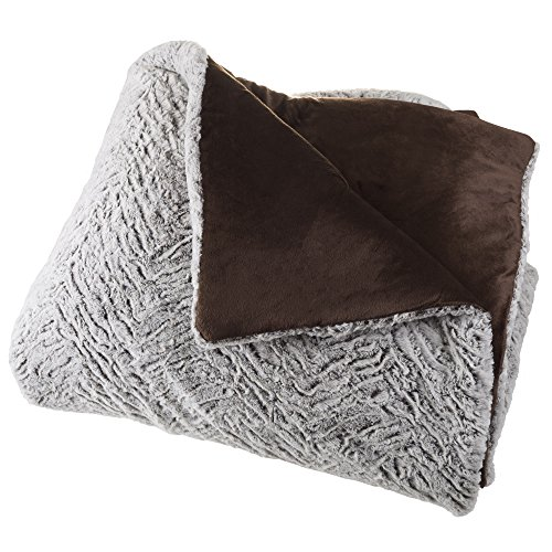Faux Fur Comforter Set, 3 Piece Full/Queen Comforter and Sham Set With Mink Faux Fur By Lavish Home – (Full / Queen  Size) (Grey / Chocolate / Black)