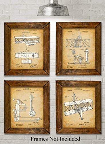 Original Wright Brothers Patent Art Prints - Set of Four Photos (8x10) Unframed - Makes a Great Gift Under $20 for Pilots