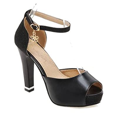 74728b0f986 Summerwhisper Women s Sexy Sequin Ankle Strap Peep Toe Platform Pumps  Chunky High Heel Sandals Black 4
