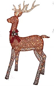 Home Improvements Holiday - Pre-lit Glittering Brown Rustic Buck - 150 Clear Lights - 5 Feet Tall