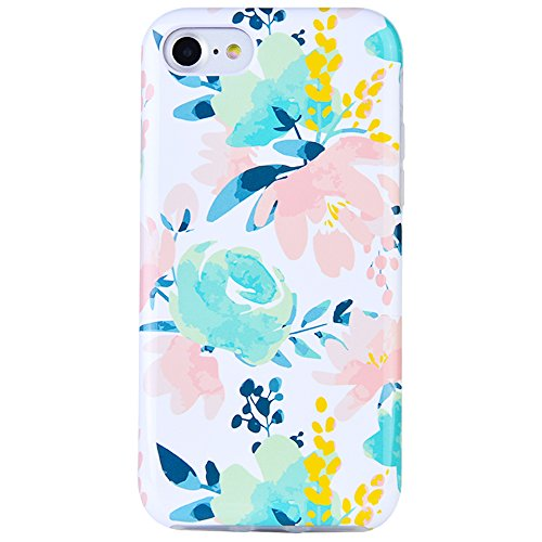 - Dimaka Case for iPhone 7 Case, iPhone 8 Case for Girls, Cute Floral Leef Flower Pattern Protective Case, 2 Layer Hybrid Drop Proof Cover [Retro Design] for iPhone 7 and 8 (116)