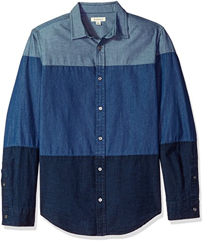 Calvin Klein Men's Long Sleeve Denim Button Down Shirt, Indigo, S