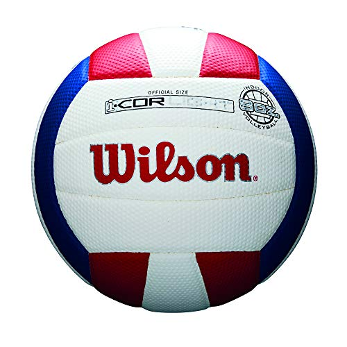 (Wilson Sporting Goods i-COR Light Volleyball, Official Size i-COR Light Volleyball, Official Size, Red/White/Blue, Official/Light)