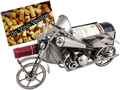 BRUBAKER Wine Bottle Holder Motorcycle with Sidecar - Metal Sculpture - Wine Rack Decor - Tabletop - with Greeting Card