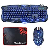 BlueFinger Gaming Keyboard Mouse Set,Keyboard and Mouse Combo,Letters Glow, 3 Color Crack Backlit,USB Wired,Gaming Bundle for PC Computer Gamer