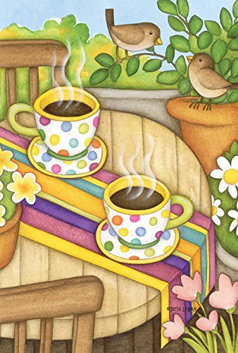 Flower Garden Coffee Cup (Toland Home Garden  Coffee and Wrens 12.5 x 18-Inch Decorative USA-Produced Garden Flag)