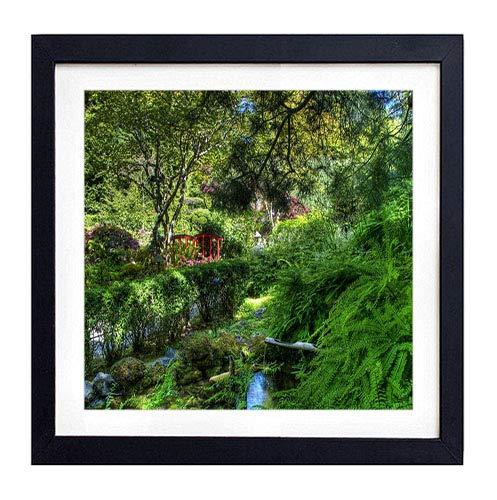 GLITZFAS PRINTS Framed Wall Art- Fern Stream Bushes Bridge Garden- Art Print Black Wood Framed Wall Art Picture for Home Decoration - 18