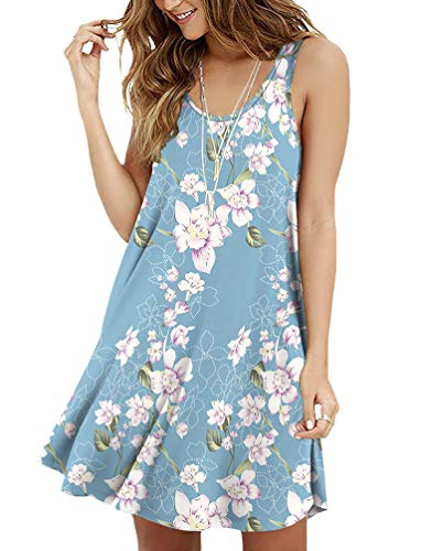 Viishow Women Summer Sleeveless Casual Long Maxi Dress Floral Print Beach Dress(Floral Light Blue L)
