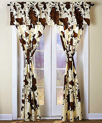 NEW 5 Pcs Rodeo Style Printed Curtain Set, 2 Panels,1 Valance, 2 Tie Backs - COW