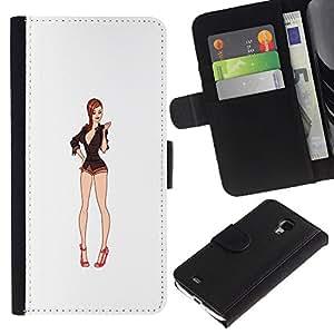 iBinBang / Flip Funda de Cuero Case Cover - Blanco Bebé Escote Pin Up - Samsung Galaxy S4 Mini i9190 MINI VERSION!