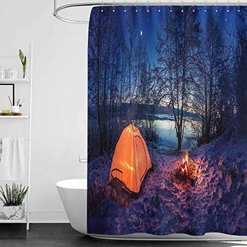 SKDSArts Shower Curtains with Blue Flowers Forest,Dark Night Camping Tent Photo in The Winter on The Snow Covered Lands by The Lake,Blue Orange,W72 x L72,Shower Curtain for Bathroom