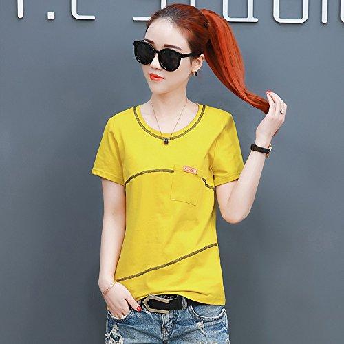 Con Fondo Da Taglie A Momo112336 Corte Top Giallo Donna T shirt Selvaggio Forti Estiva Maniche Camicia xw7xpP4qg