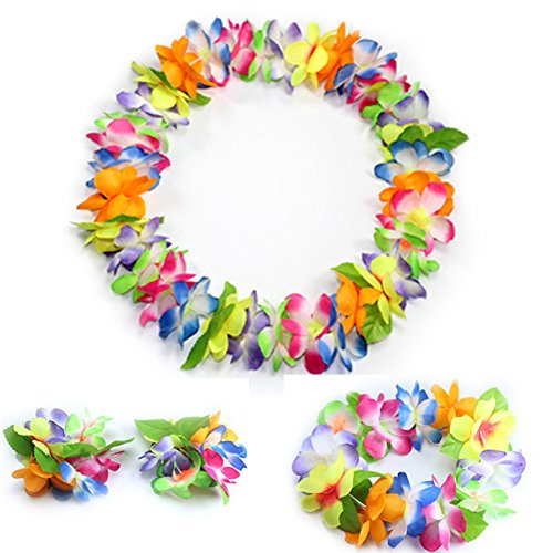 JSSHI Lush Hawaiian Headpiece,Hawaiian Flower Leis Jumbo Necklace Bracelets Headband Set with Leaf for Hawaiian Luau Party Decoration Supplies (with Green Leaves,Multicolor) -