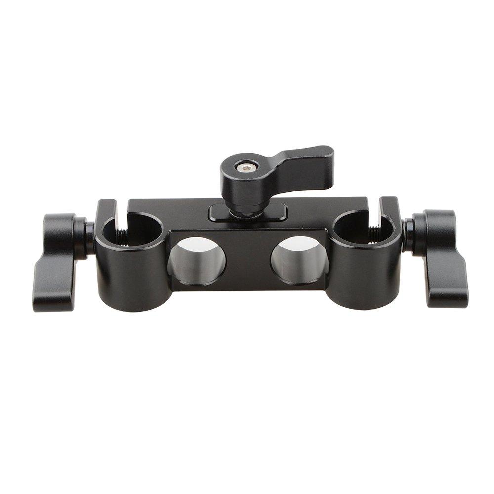 CAMVATE 15mm Rod Clamp with 4-Holes (Black Knob)