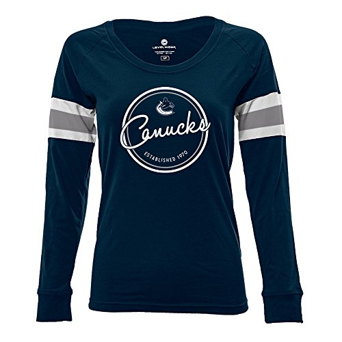 Levelwear LEY9R NHL Vancouver Canucks Adult Women Finish Line Tailgate Long Sleeve V-Neck Tee, Medium, Solid Navy/White