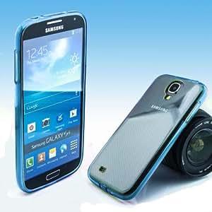 Rainbow Hybrid Case trasera Cover Trasera Carcasa Back Cover Teléfono Móvil Funda paragolpes elástica y plástico transparente y borde silicona en color para Samsung Galaxy A5SM-A500F en azul