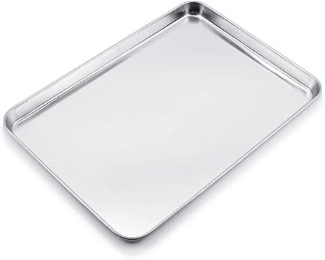 Amazon Com Wezvix Large Baking Sheet Stainless Steel Cookie Sheet Half Sheet Oven Tray Baking Pan Rectangle Size 19 6 X 13 5 X 1 2 Inches Rust Free Less Stick Easy Clean Dishwasher Safe