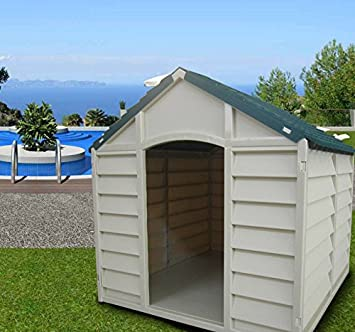 Caseta desmontable para perros de tamaño mediano-grande, fabricada en resina de PVC, tejado a 2 aguas, ideal para exteriores y jardines, color beige/verde, 78 x 84 x 80 cm: Amazon.es: Jardín