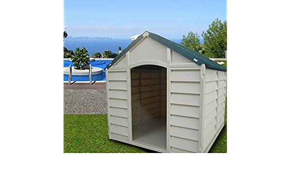 Caseta desmontable para perros de tamaño mediano-grande, fabricada en resina de PVC, tejado a 2 aguas, ideal para exteriores y jardines, color beige/verde, ...