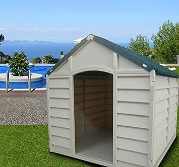 Caseta desmontable para perros de tamaño mediano-grande, fabricada en resina de PVC,